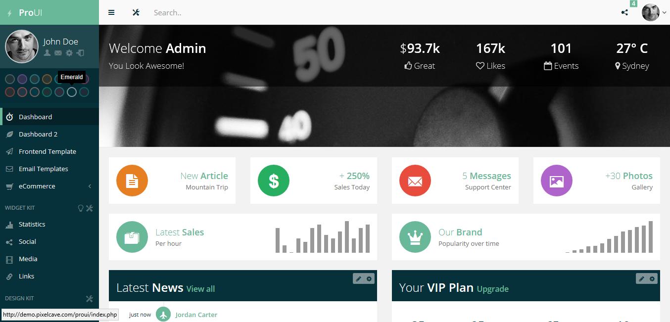 Pro UI - premium Bootstrap 3 admin template