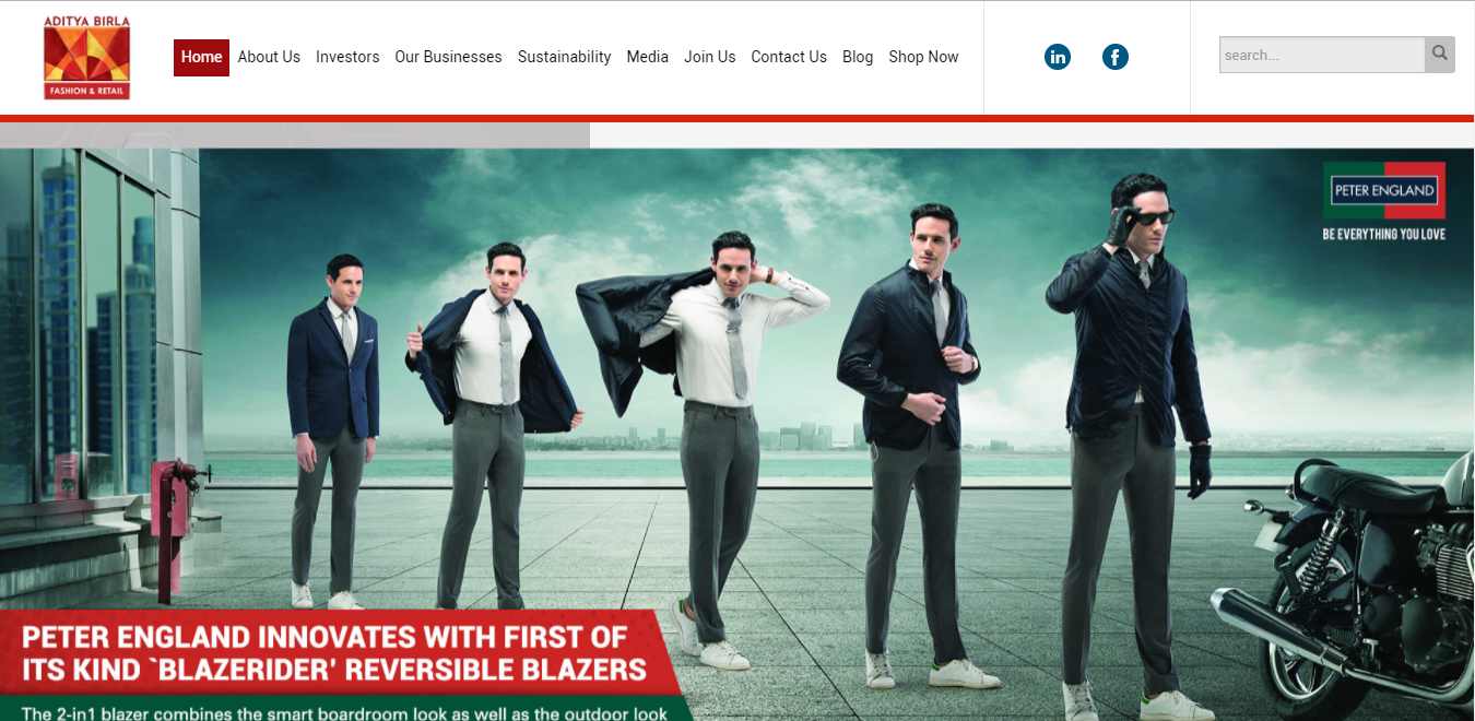 Aditya Birla Fashion and Retail Bootstrap example website