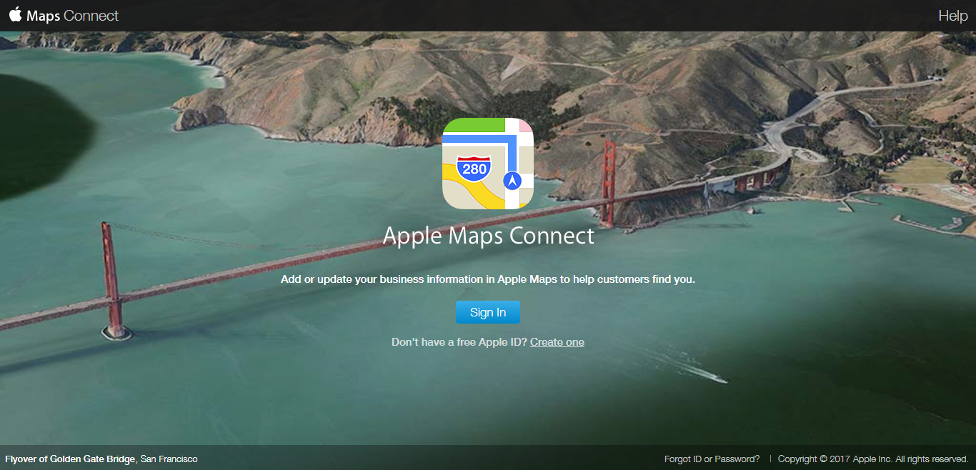 Apple Maps Connect Bootstrap website example