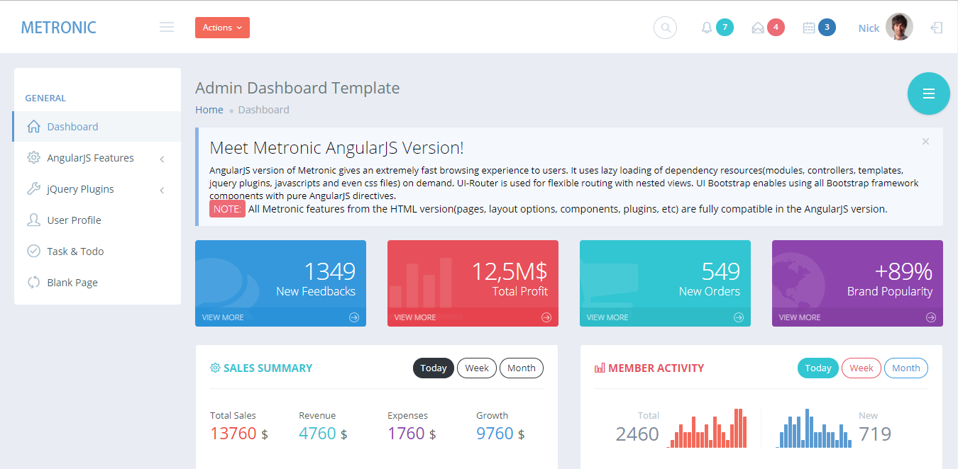 22 popular angular js admin templates bootstrapdash this is the angular version of one of the most popular templates on themeforest this is a very powerful template with powerful ui components maxwellsz