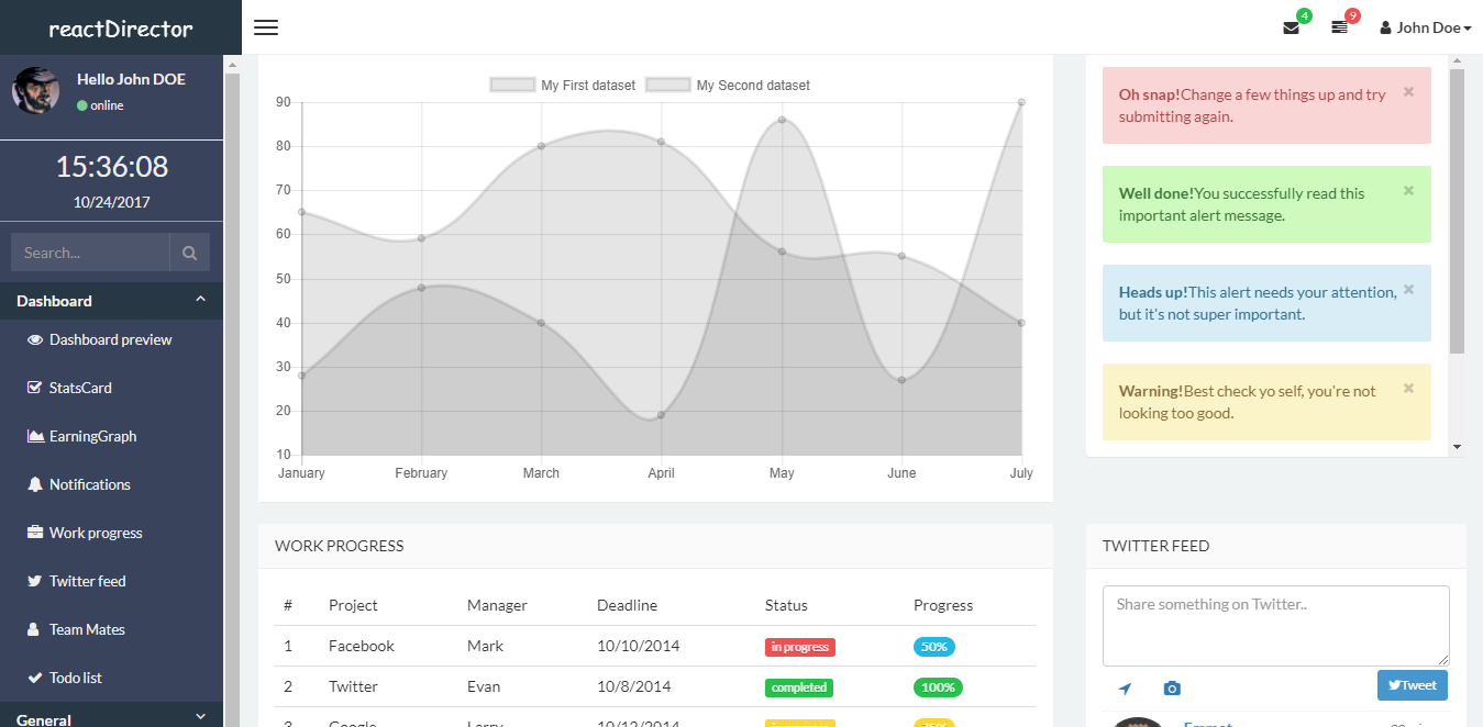 11 best free and premium responsive react admin templates, Presentation templates