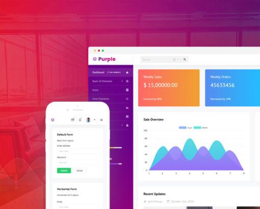 purple -free bootstrap 4 admin template