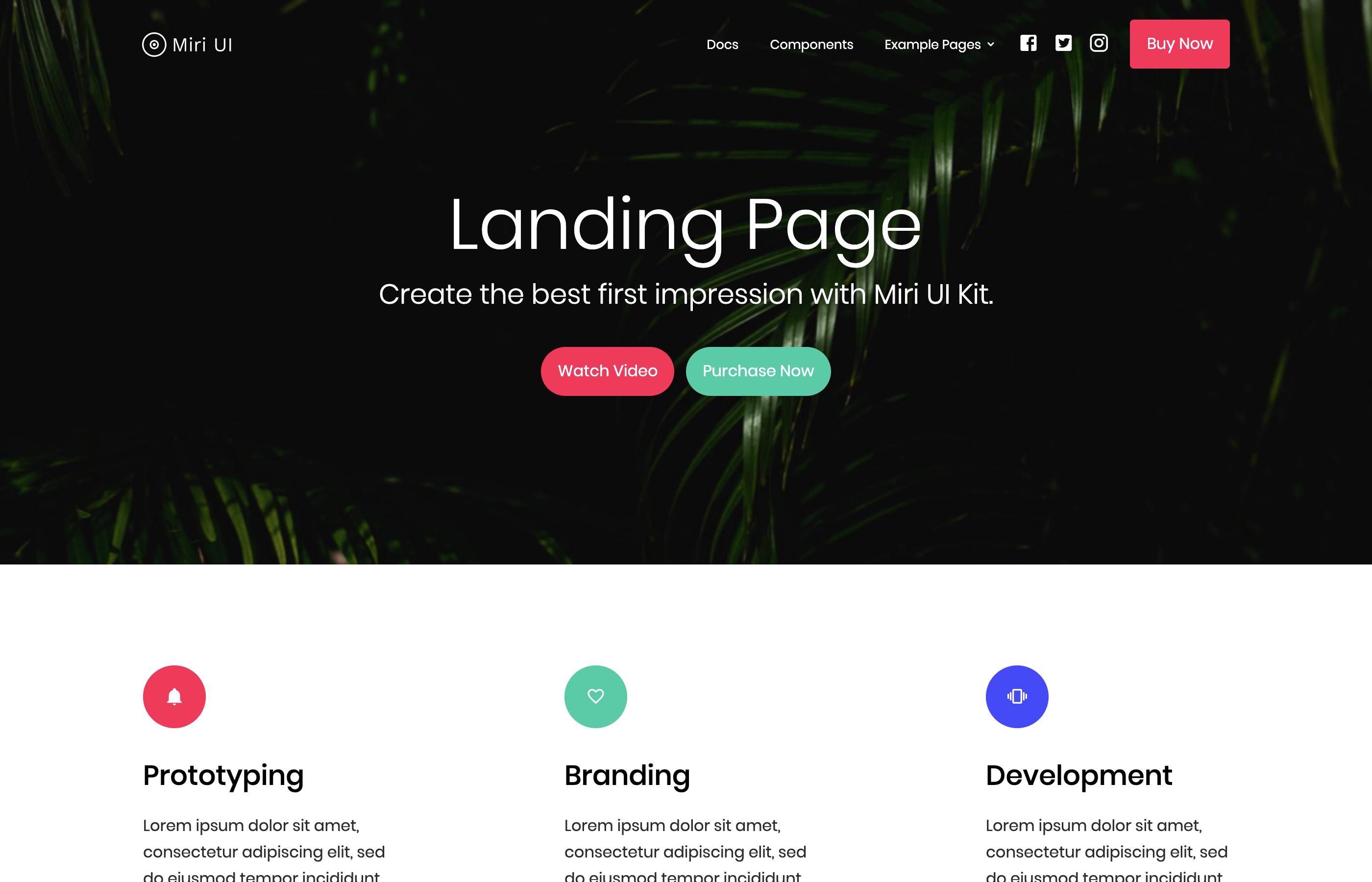 miri ui kit landing page