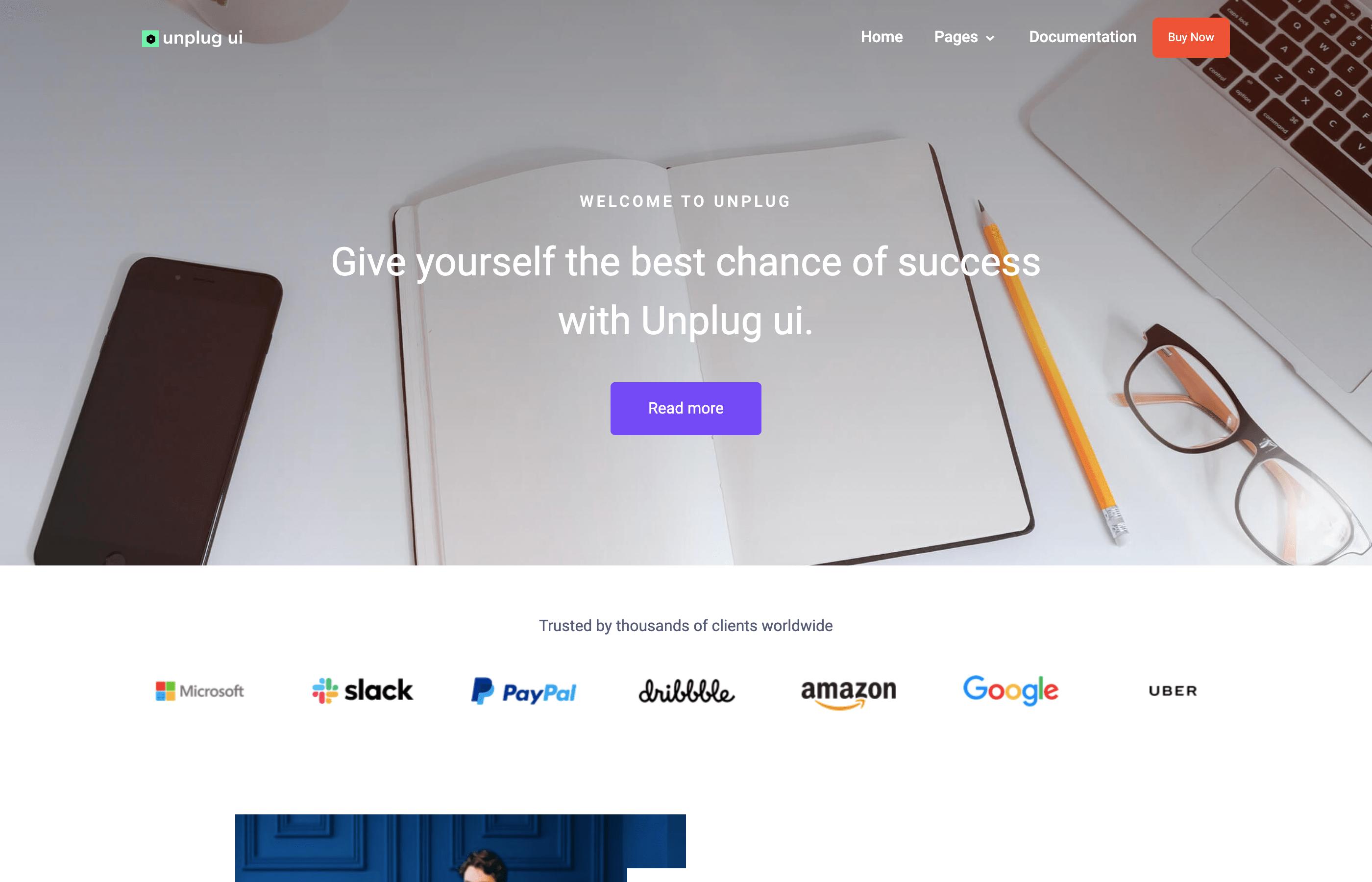 unplug-ui-landing pages