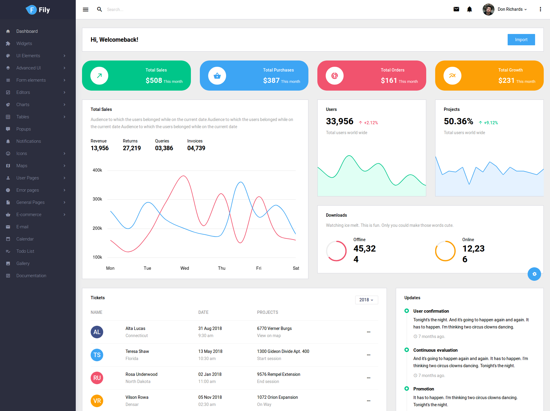 fily admin template