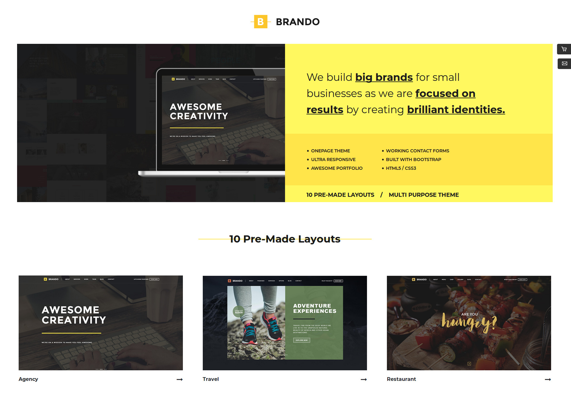 Brando Responsive Multipurpose OnePage Template