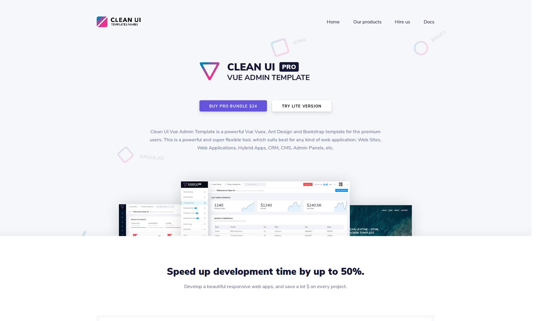 Clean UI Vue Admin Template