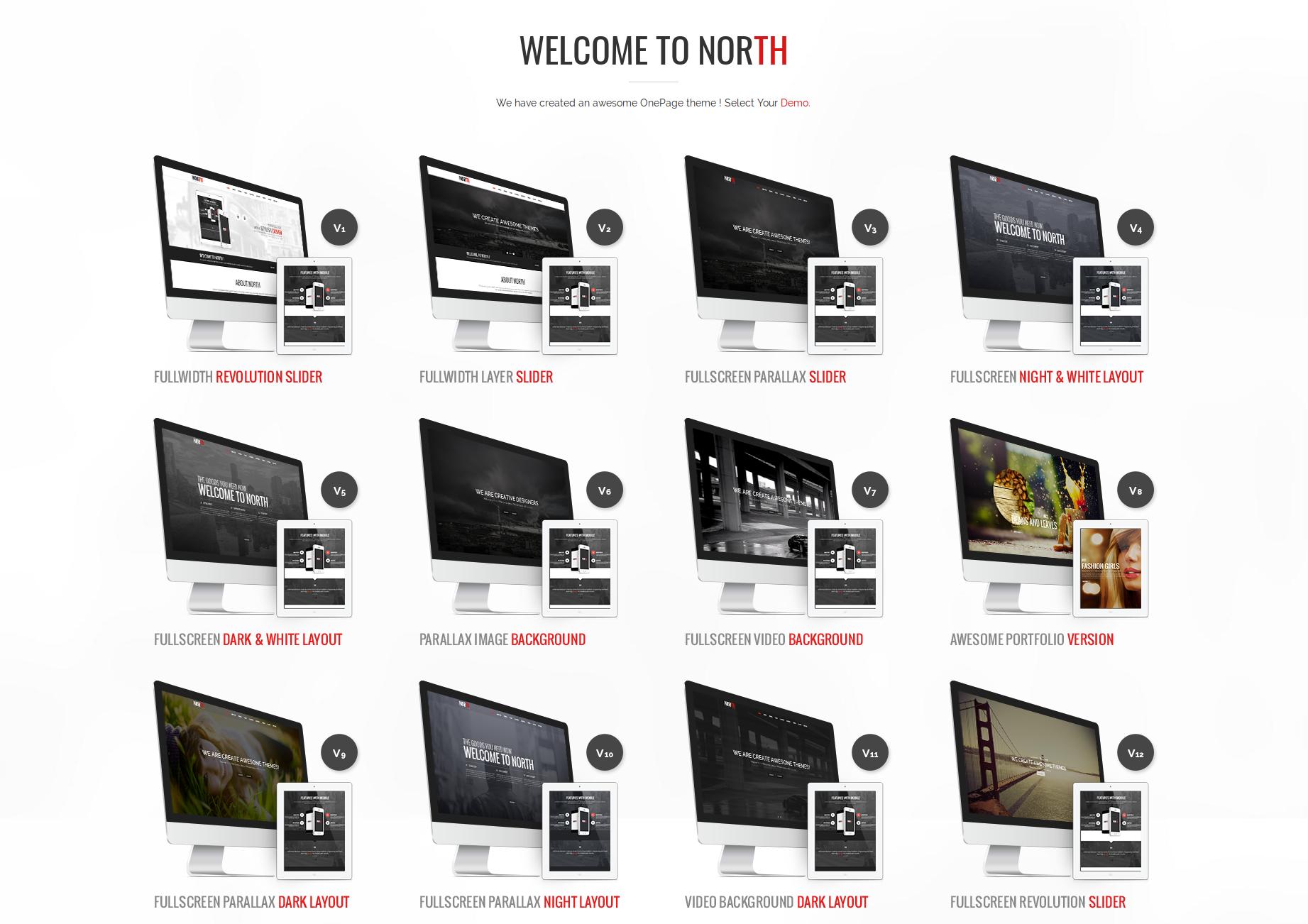 vNorth OnePage HTML Theme