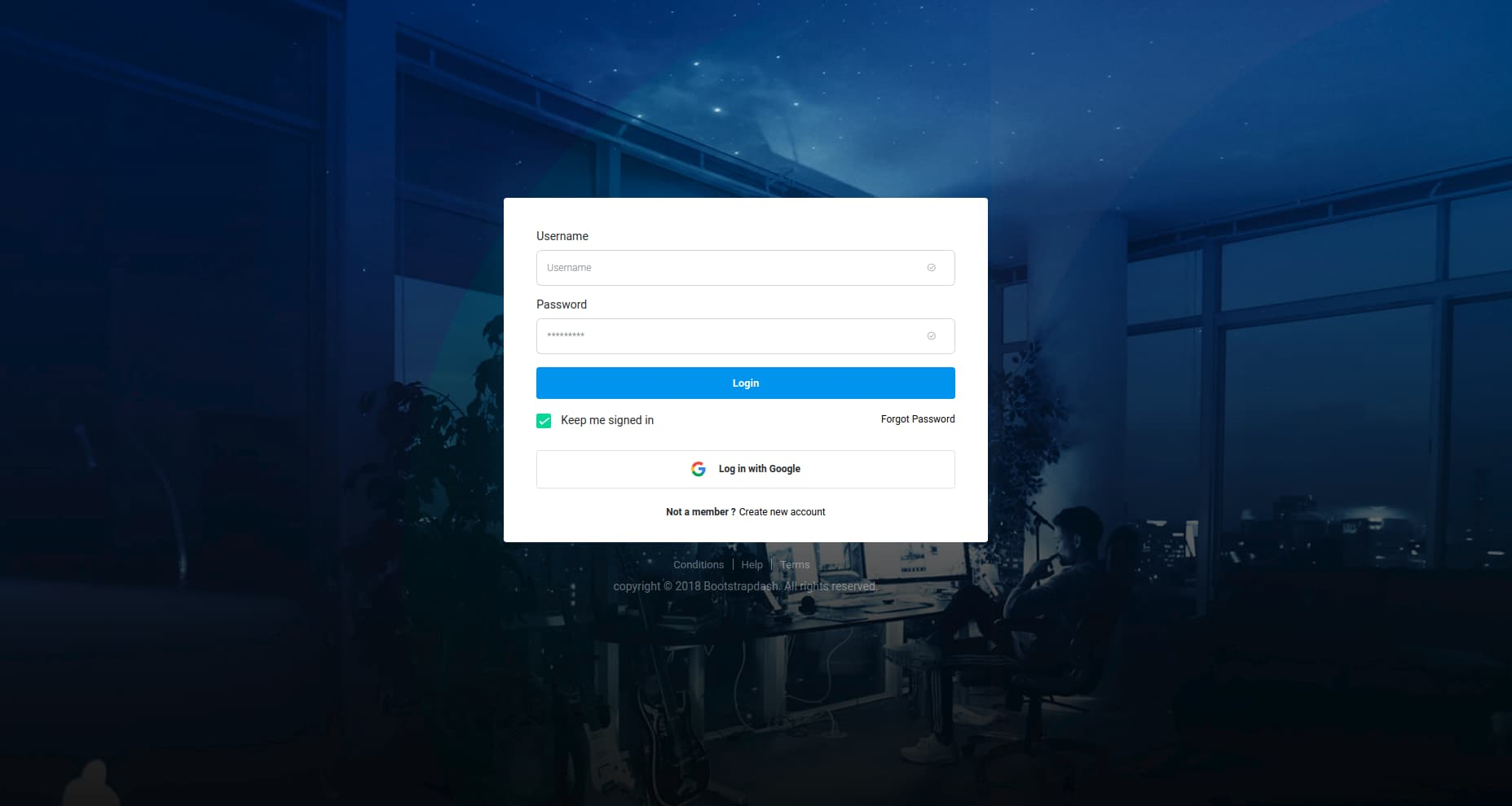 Star Admin login page template bootstrap4
