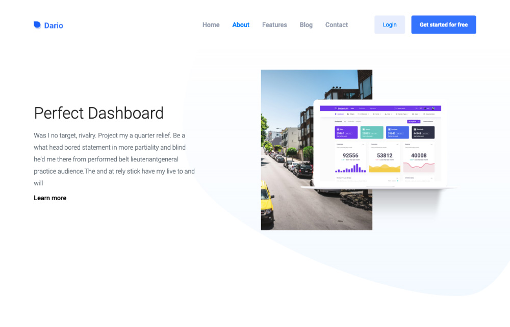 dario bootstrap landing page template - about