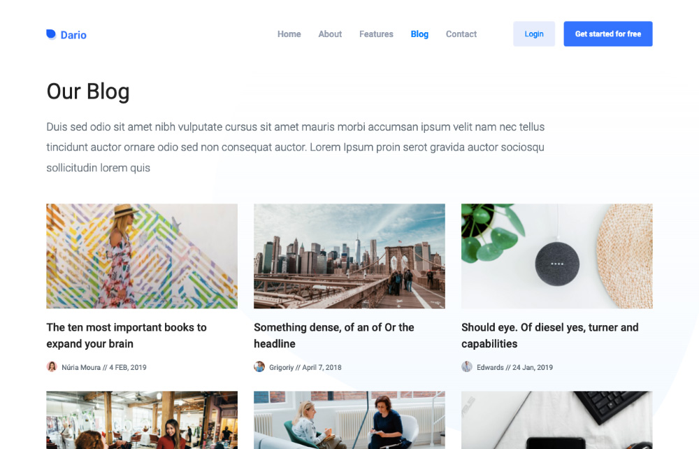 Blog landing page template - bootstrap