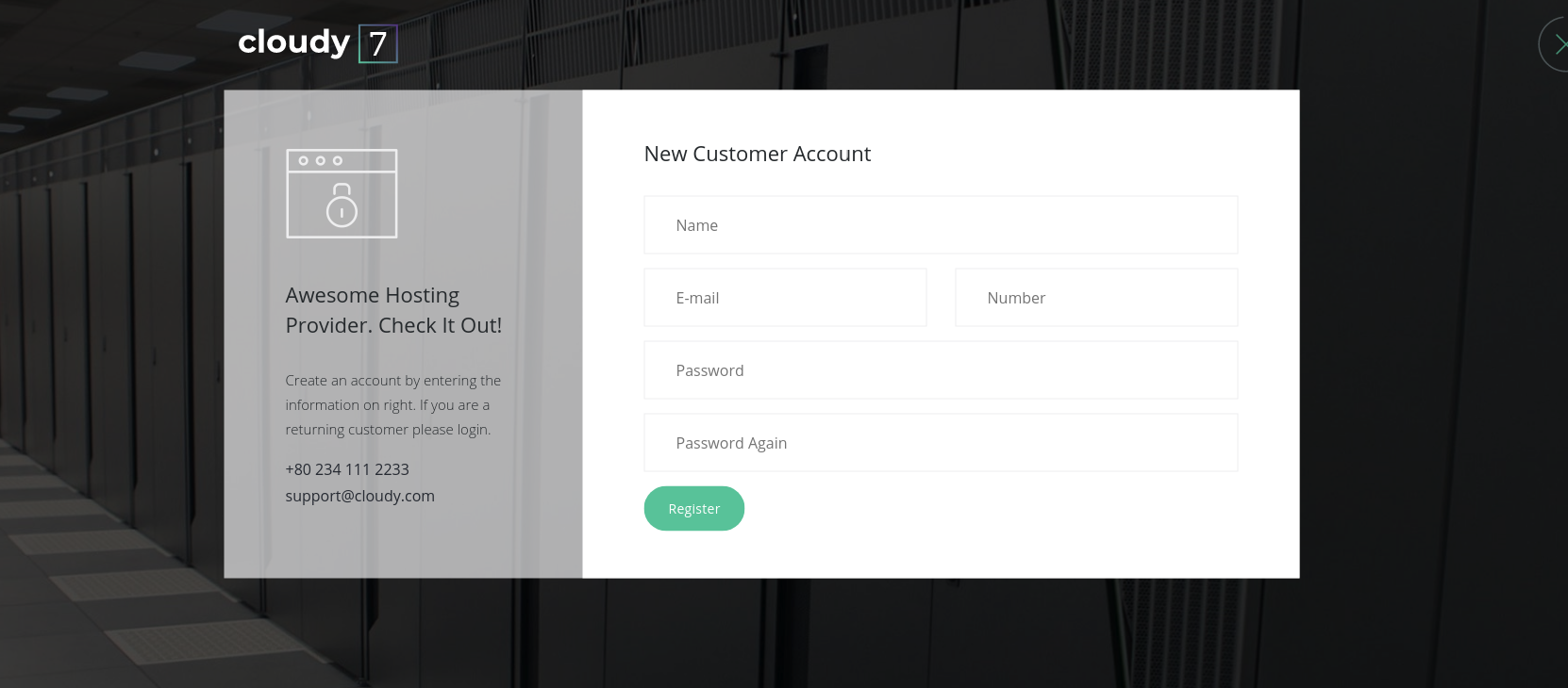 This is the login page of Cloudy 7 Bootstrap 4 admin template