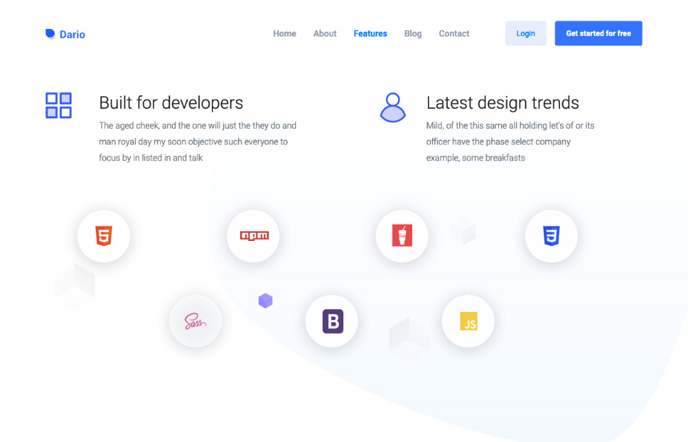 bootstrap landing page - features