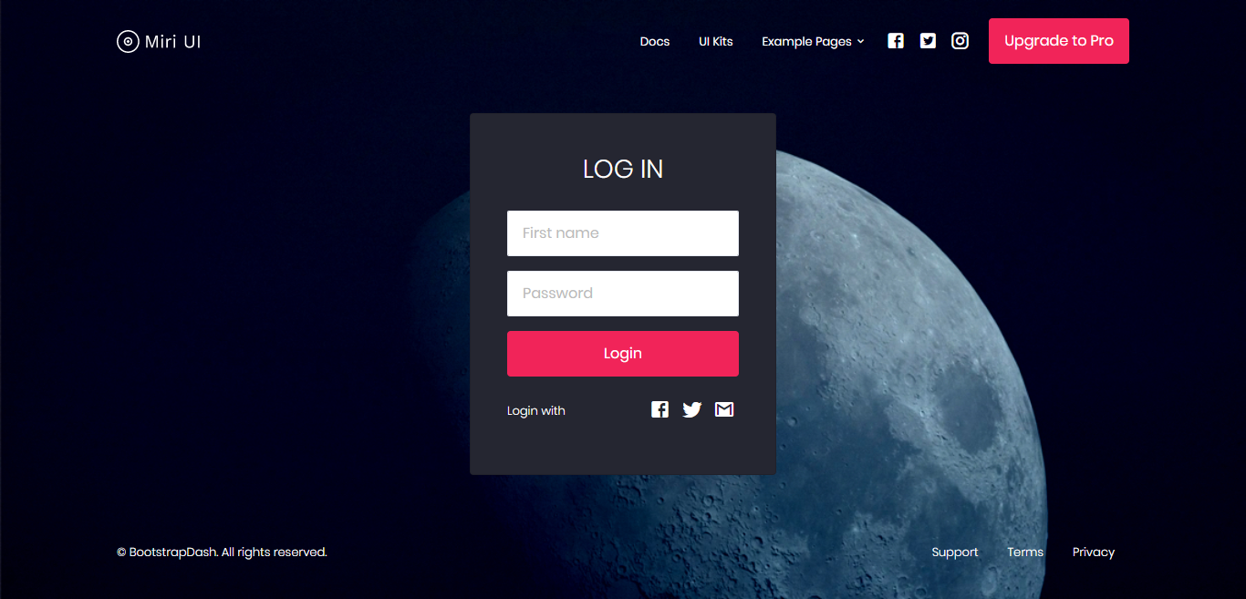 MiriUI's Bootstrap login page template