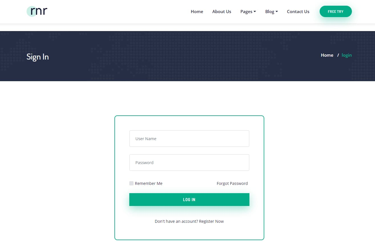 rnr login page template