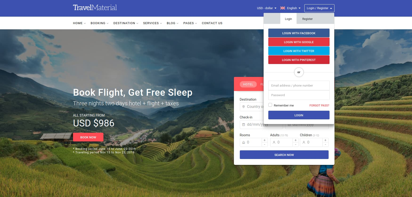 TravelMaterial's login page template
