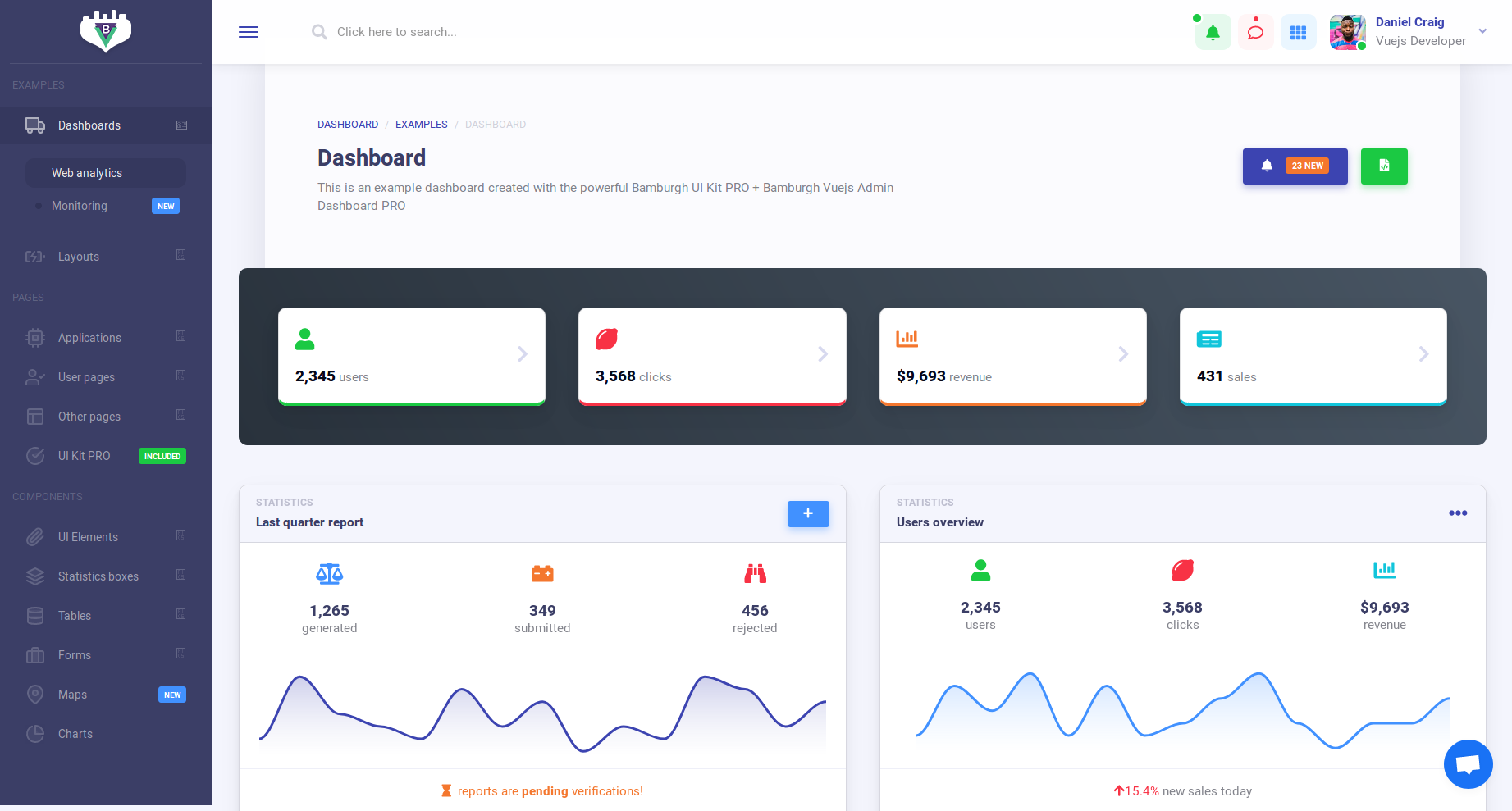 Premium and Free Vue Admin Dashboard Templates