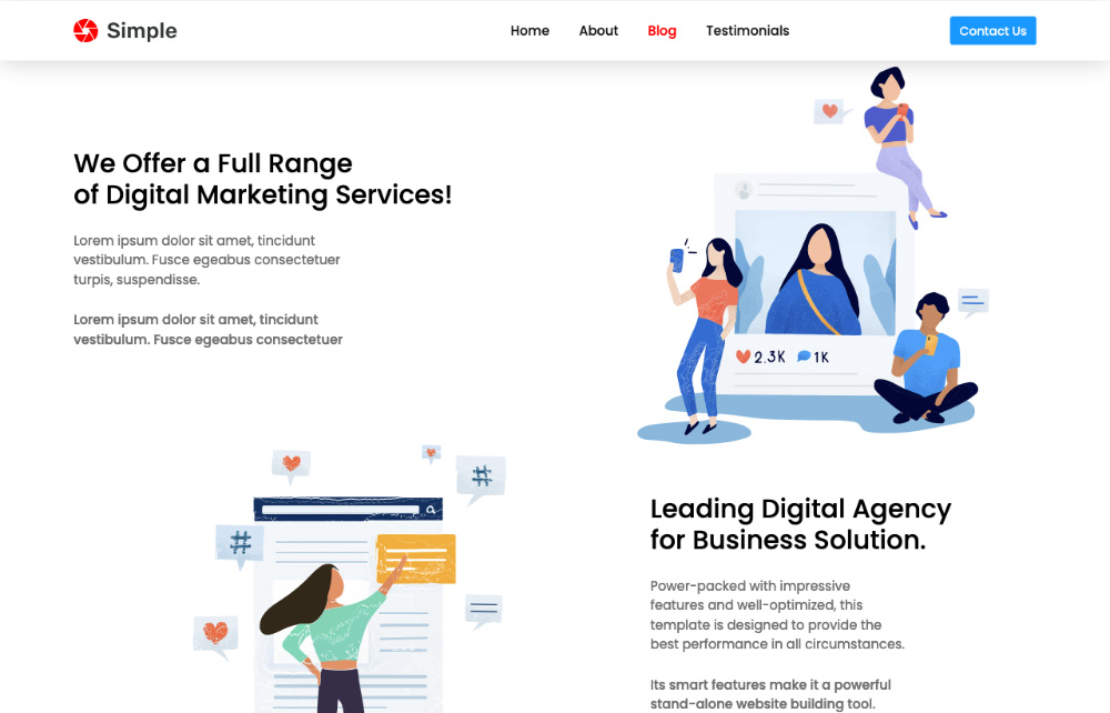 blog landing page template for bootstrap 4