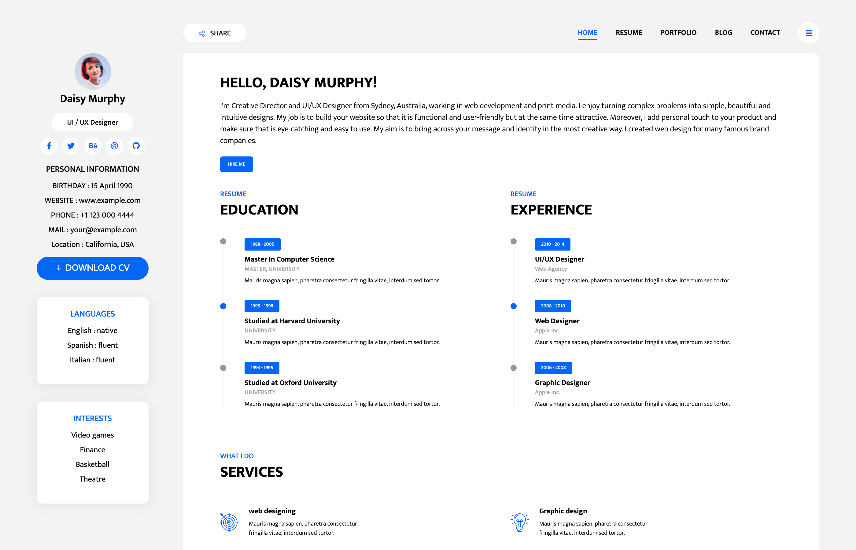 free bootstrap resume