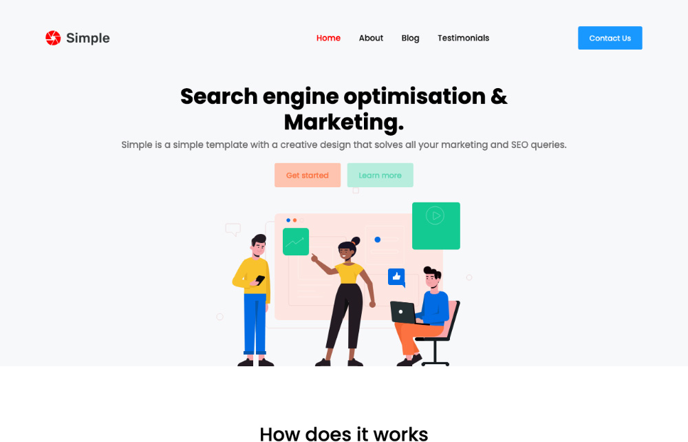 simple bootstrap landing page template
