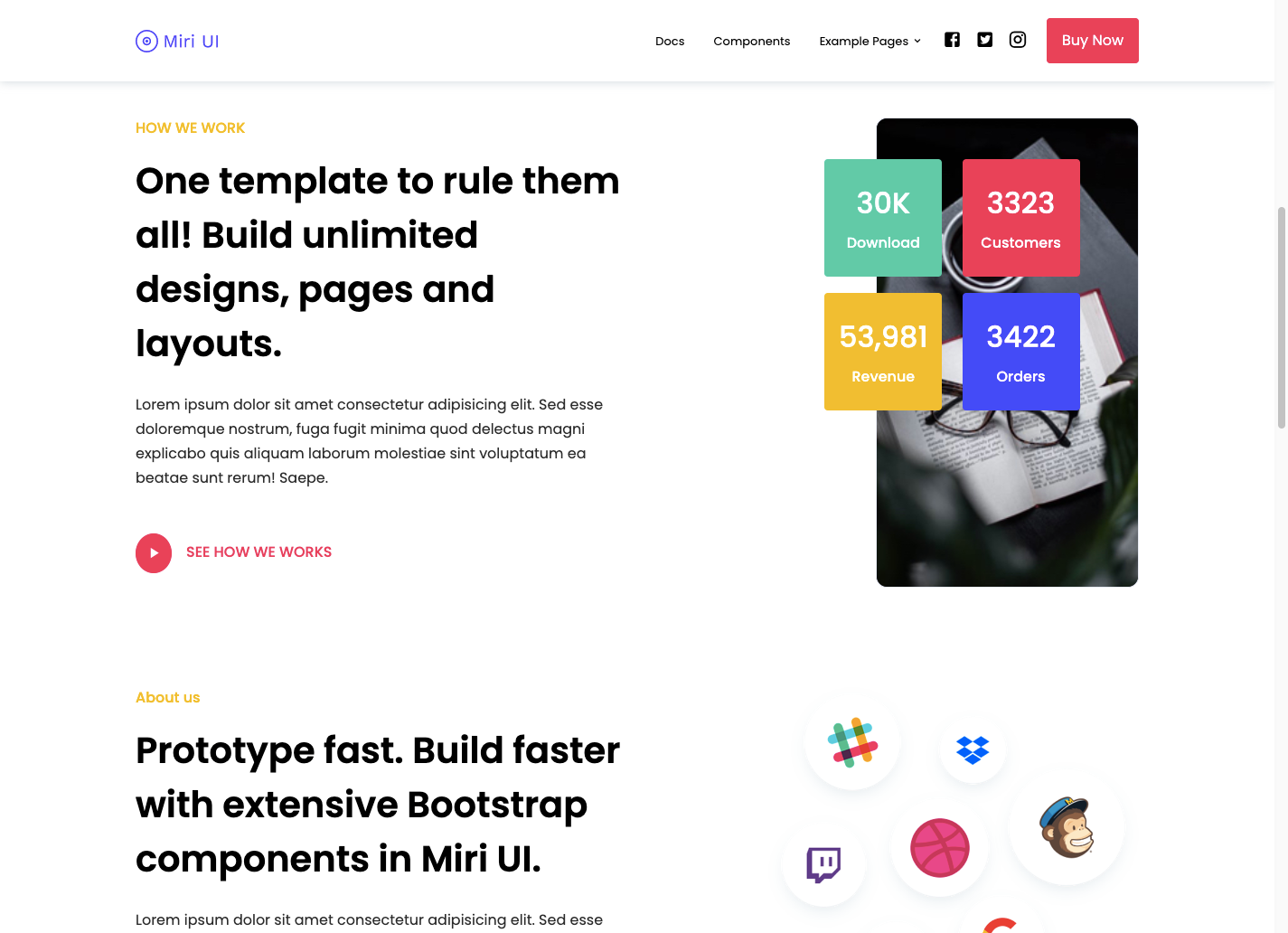 landing page made using Miri UI kit