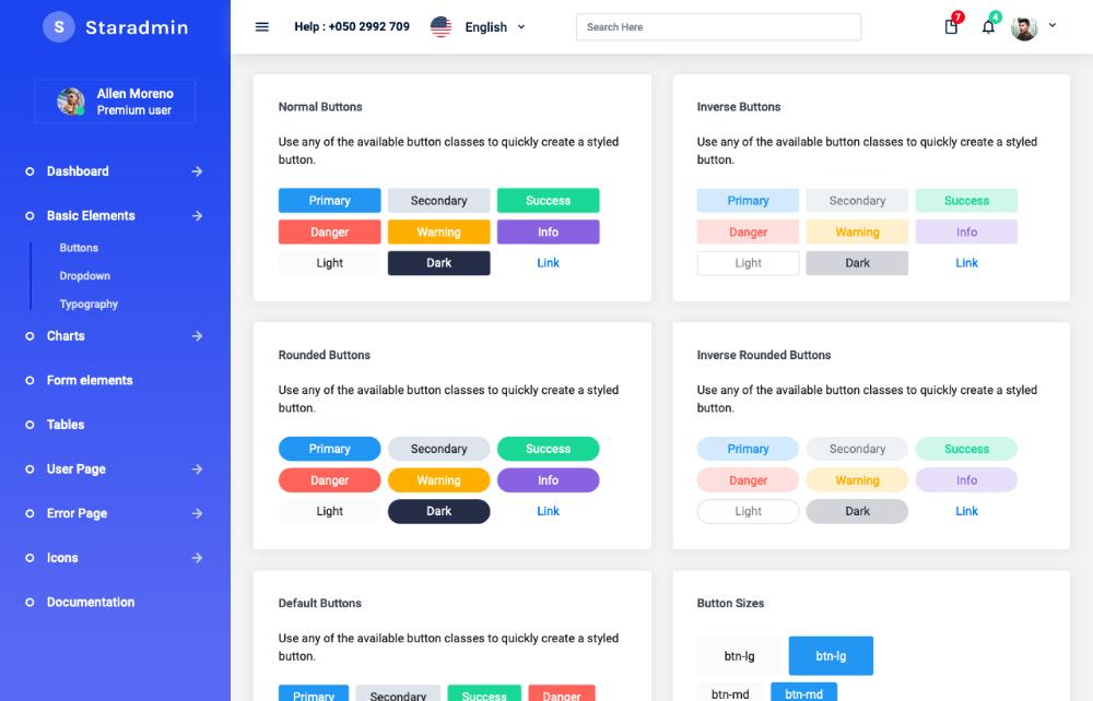 Star admin angular admin template buttons