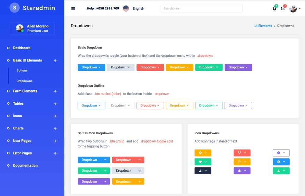 Dropdown options available in star admin react free template