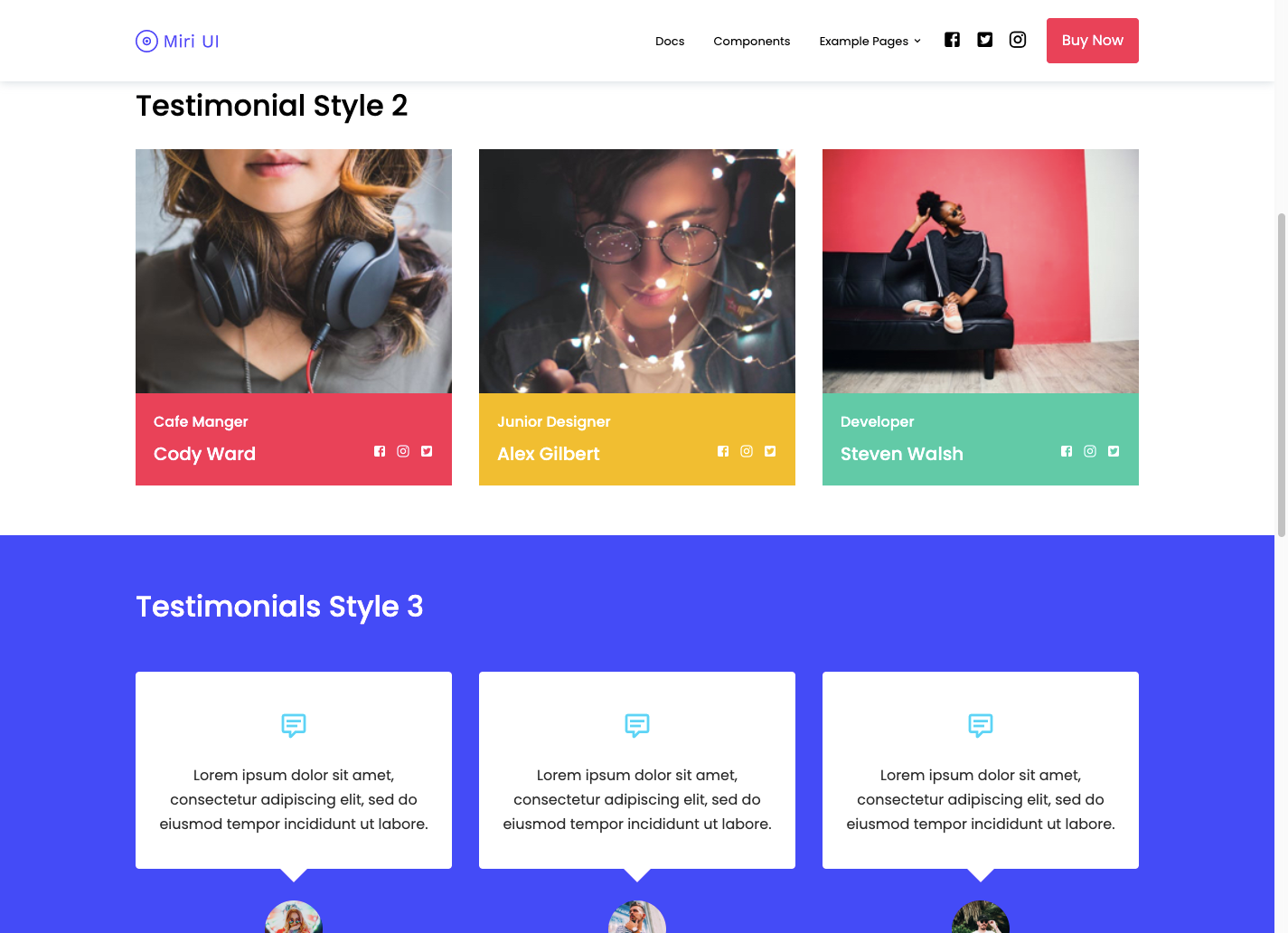 Testimonials page created using MIRI UI kit