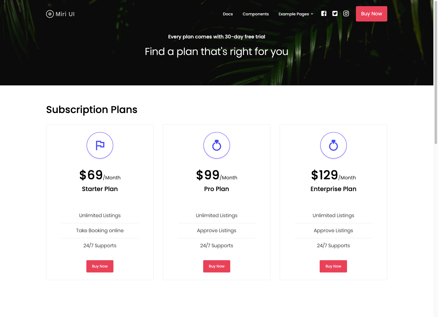 pricing page using Miri UI kit