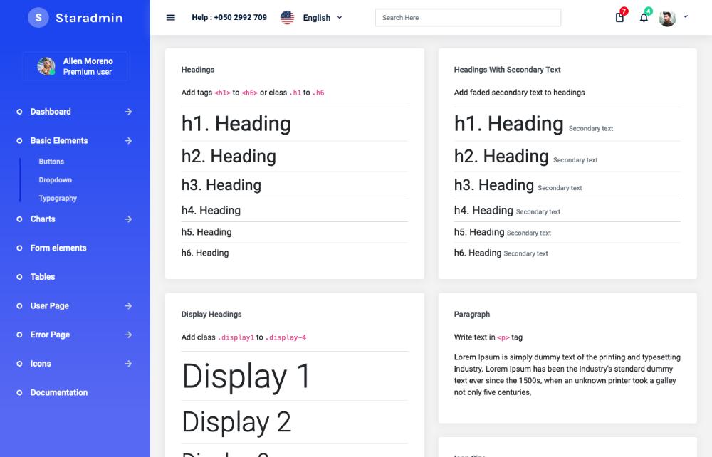 star admin free angular dashboard template typography
