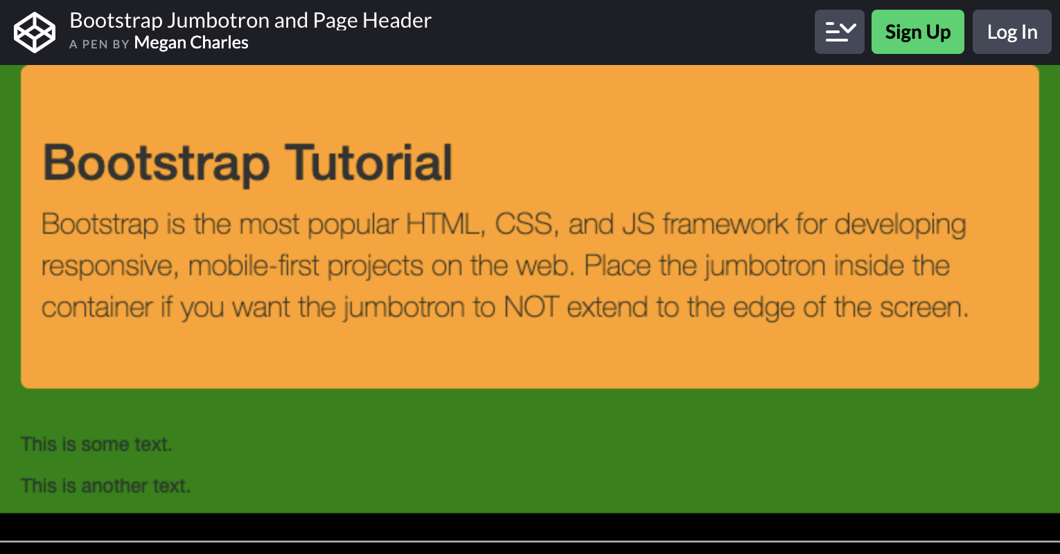 Bootstrap Jumbotron and Page Header