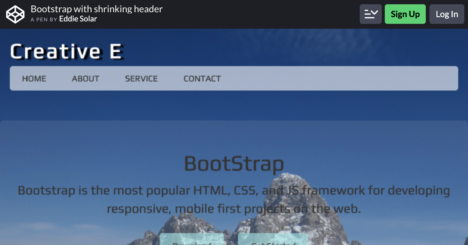 Bootstrap With Shrinking Header