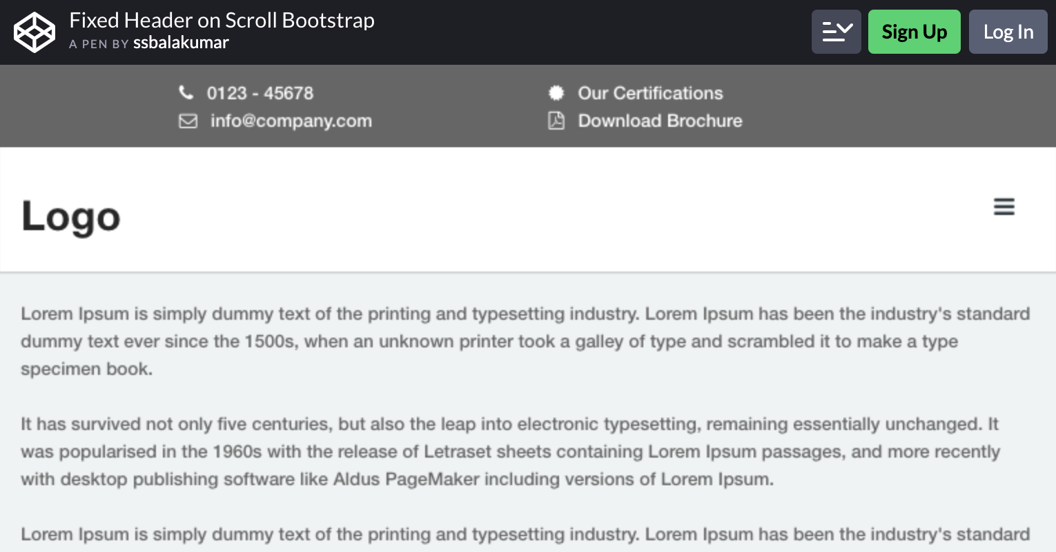 Fixed Header on Scroll Bootstrap