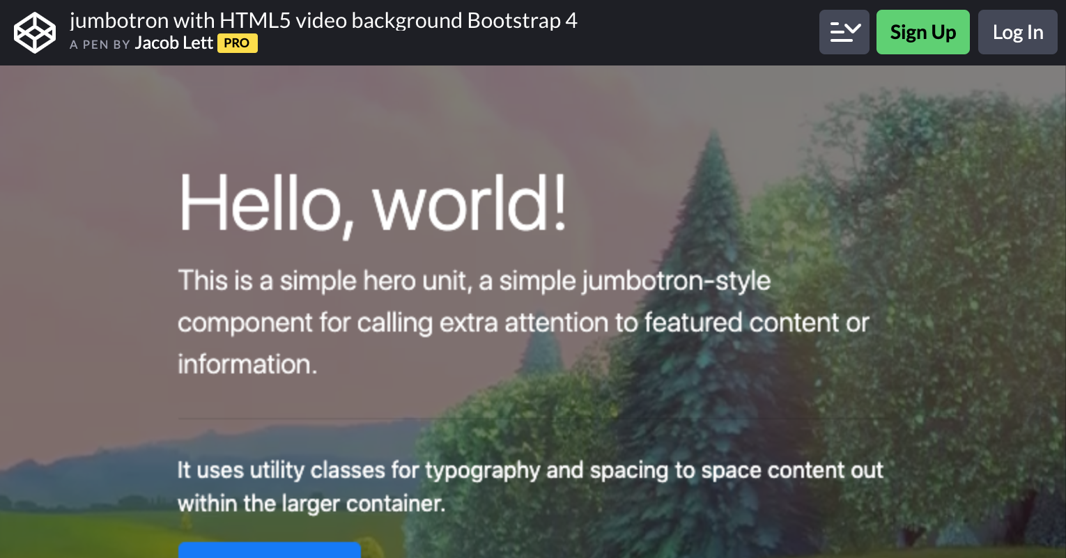 Jumbotron with HTML5 Video Background