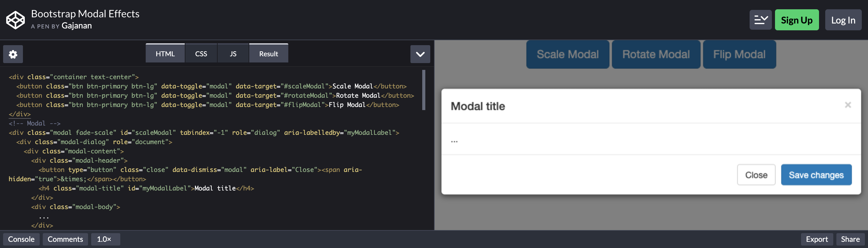 bootstrap modal effects