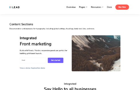 Content Sections lead ui kit