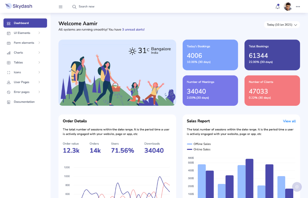 This is a screenshot of a Bootstrap admin template called Skydash.