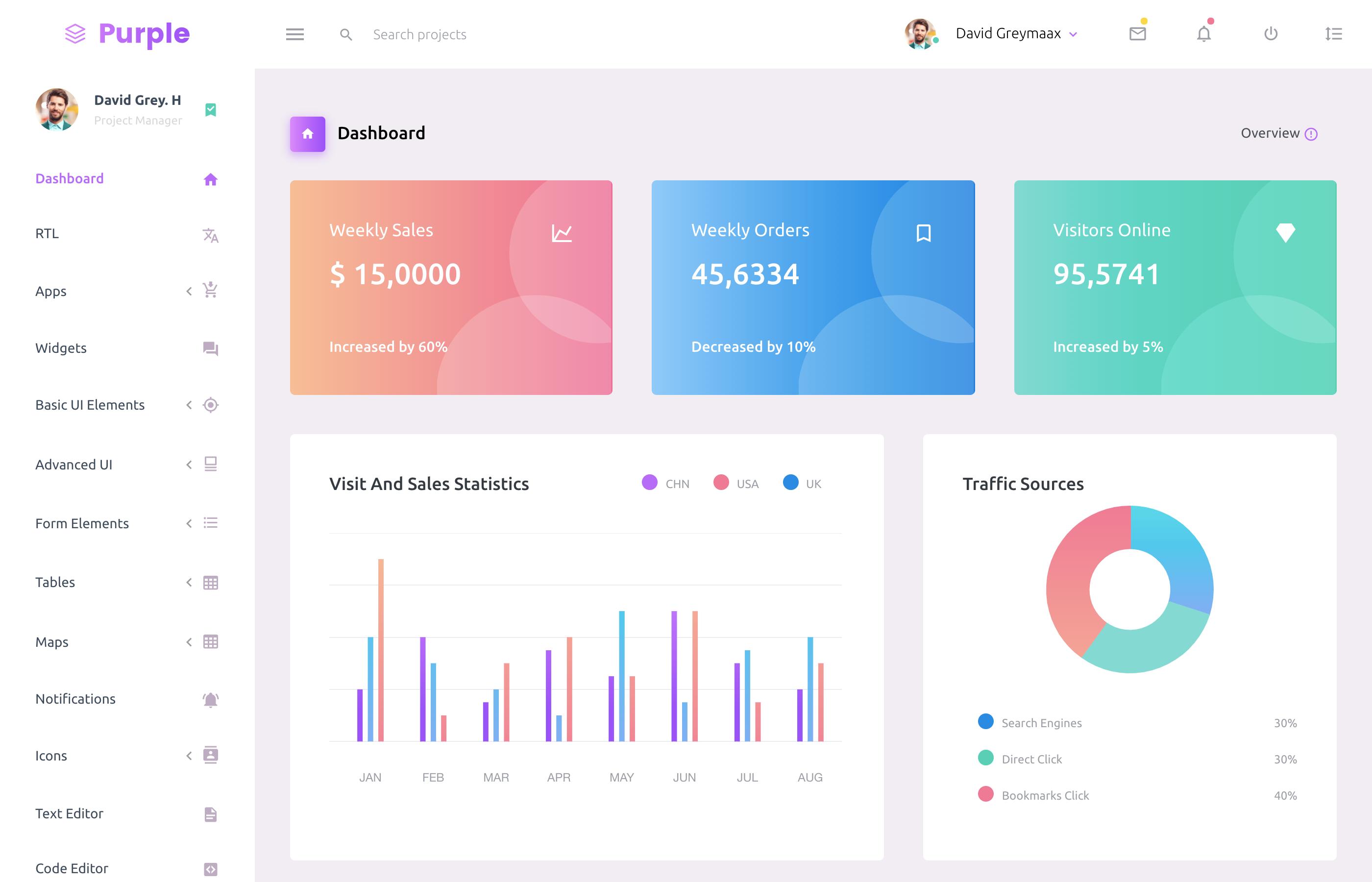 purple react admin templates