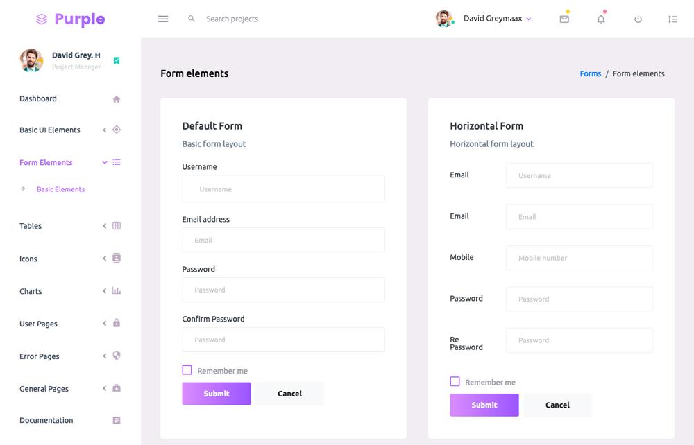 form elements purple