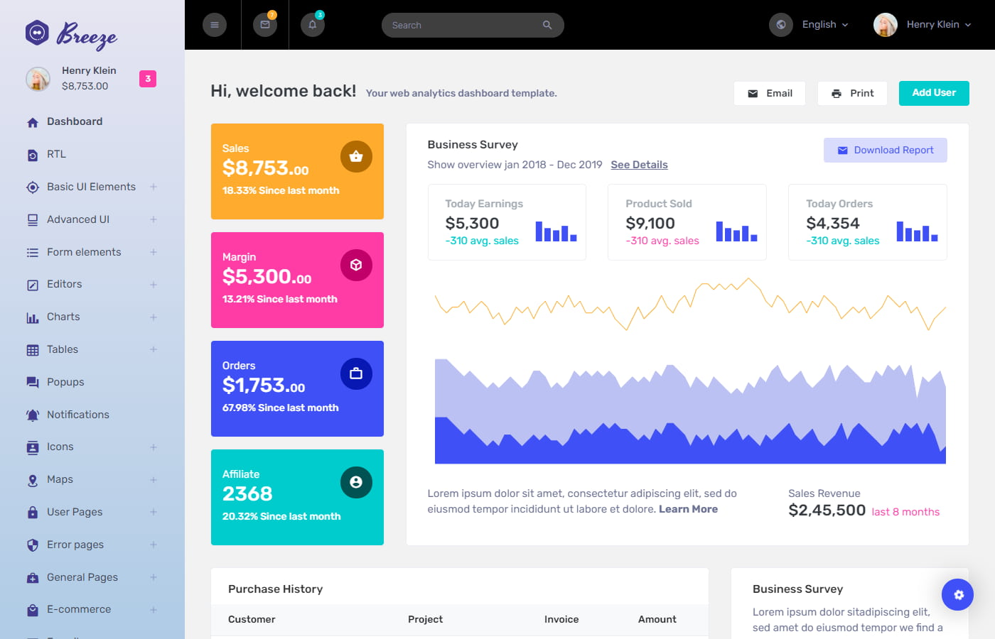Preview of Breeze Angular dashboard