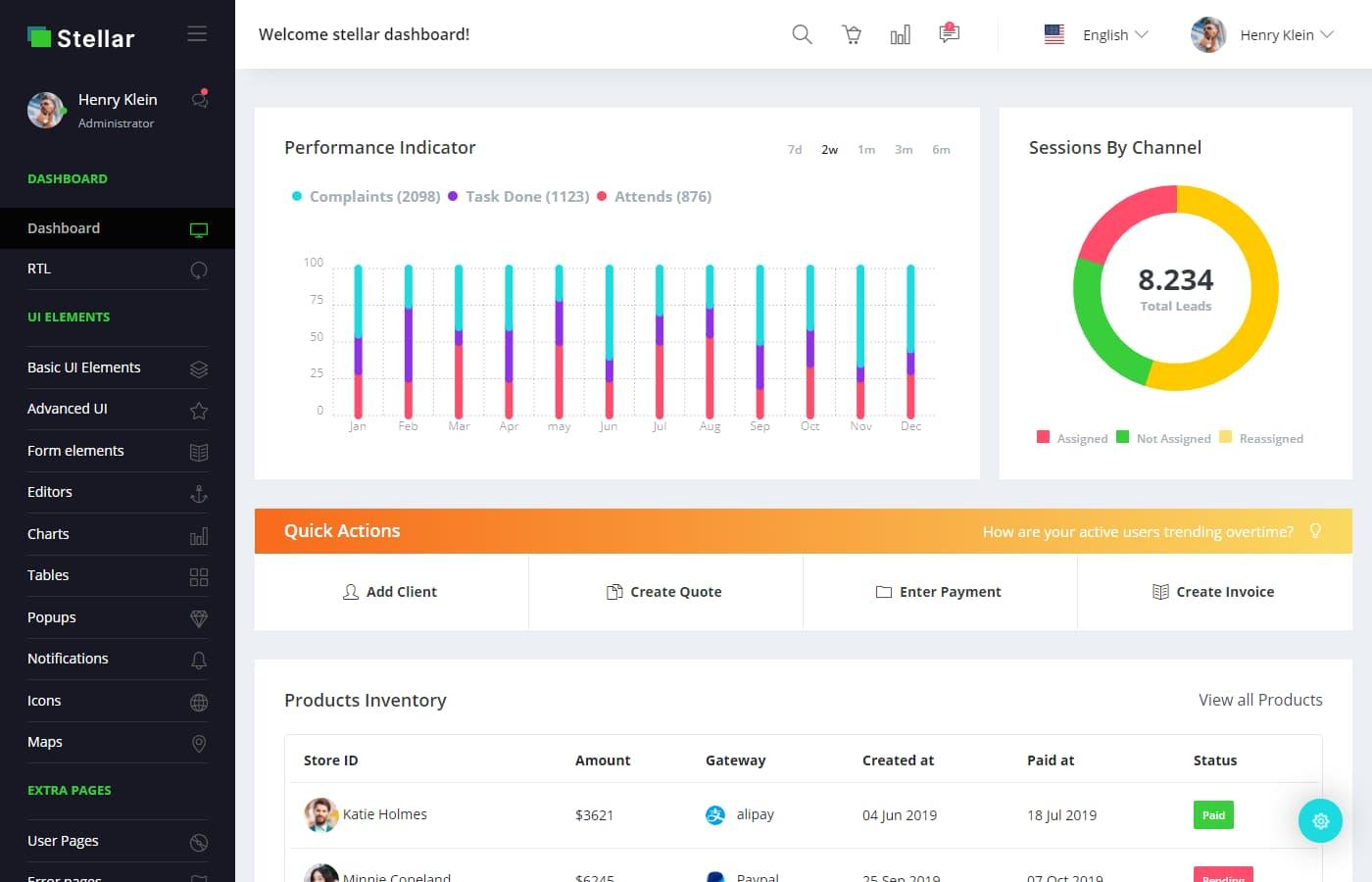 Preview of Stellar Admin Pro Angular dashboard