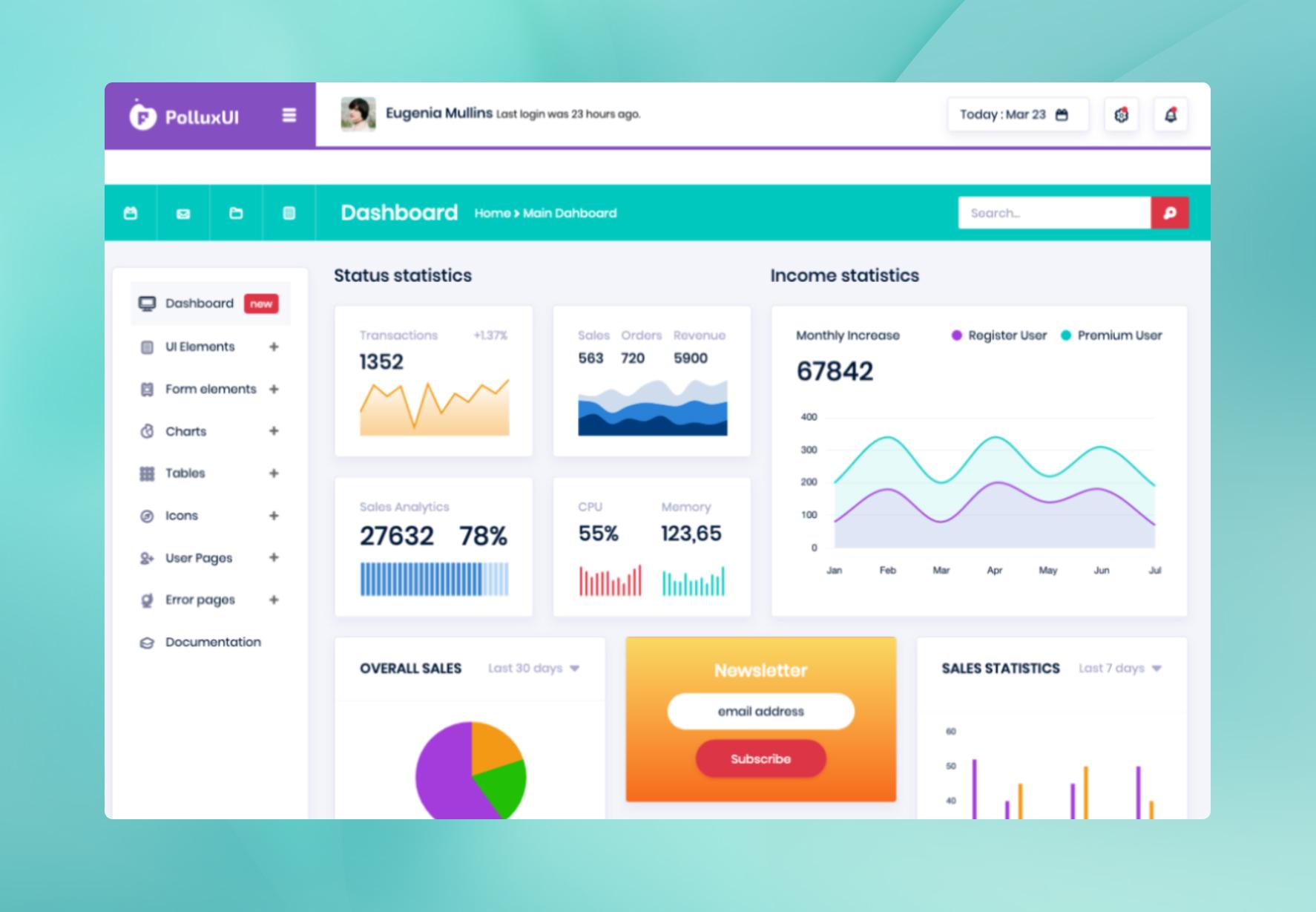 PolluxUI - Free Bootstrap Admin Template
