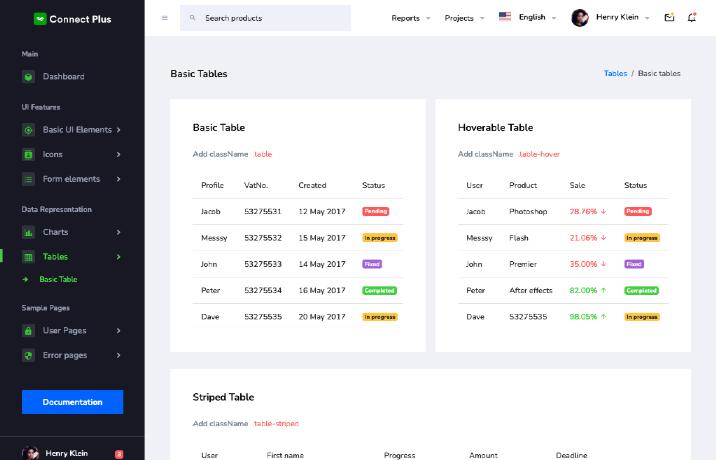 connect plus vue admin template tables