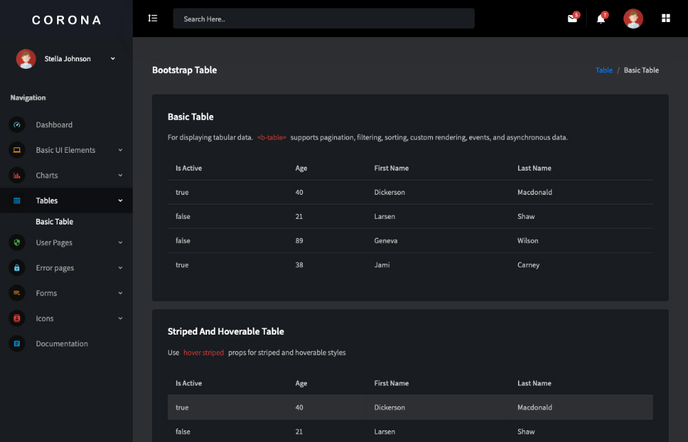 free admin template vue js tables