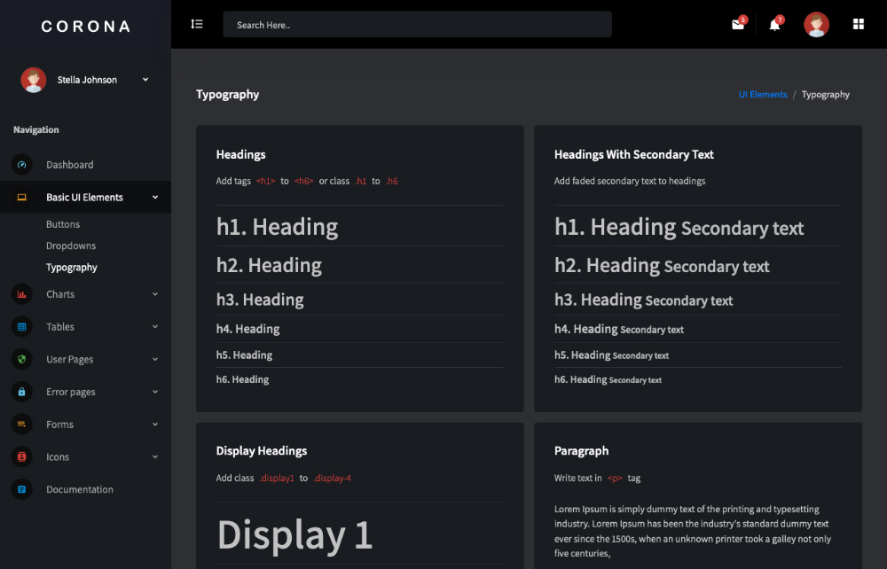 free vue js admin dashboard typography