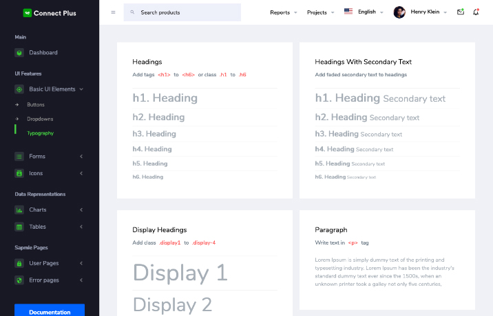 connect plus vue dashboard typography
