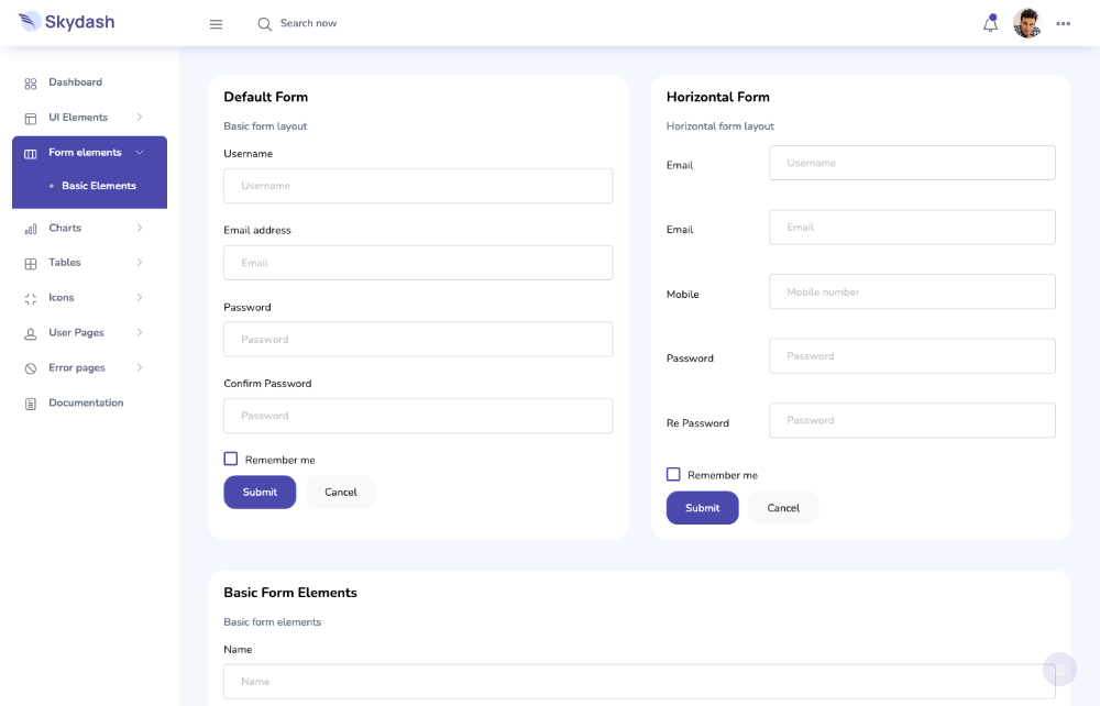 Forms of Skydash admin template