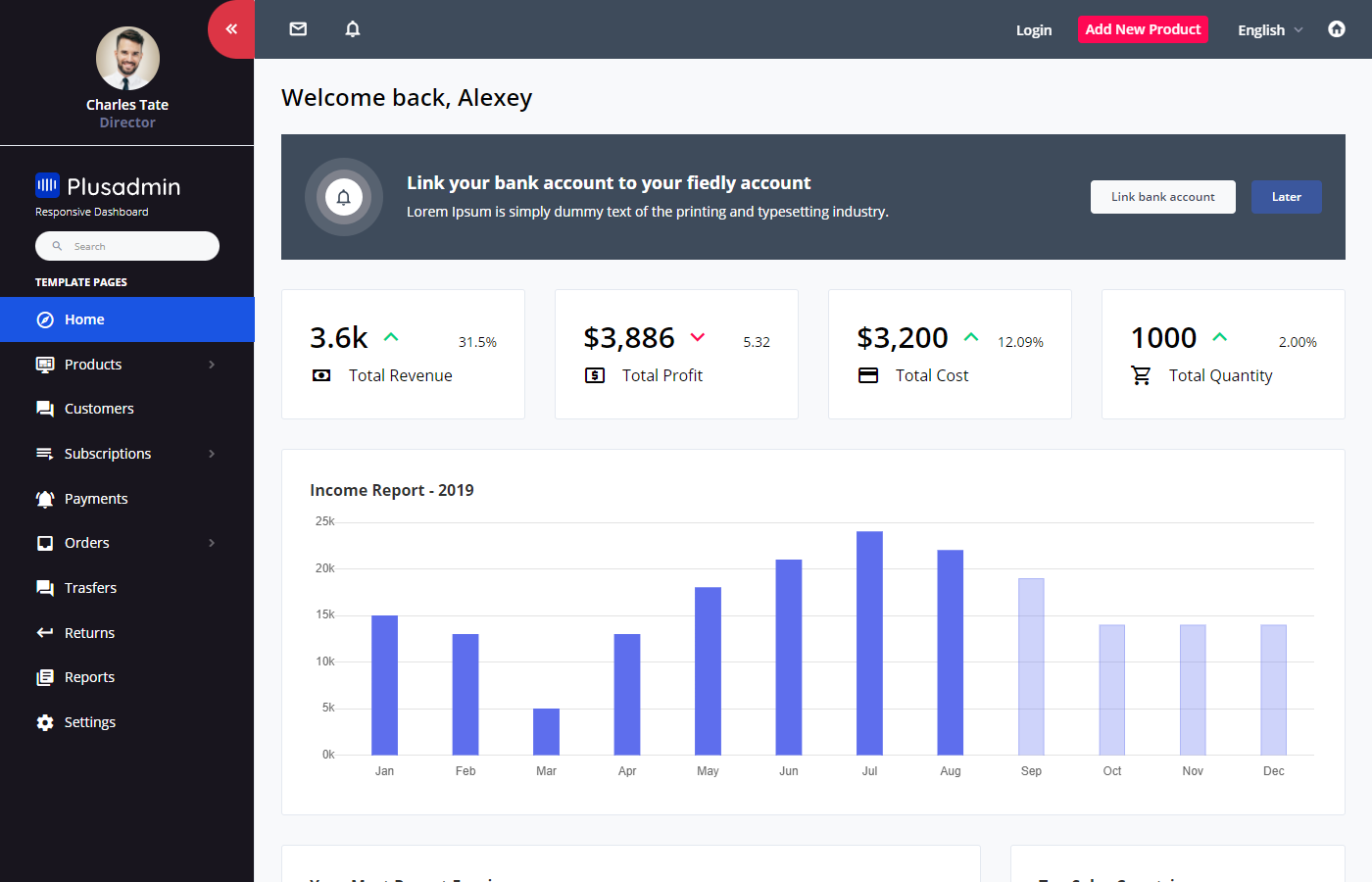 Plus Admin Bootstrap ecommerce admin dashboard template free